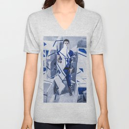 Blue/White Runway Unisex V-Neck