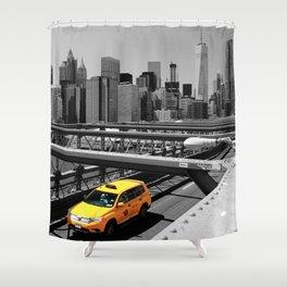Yellow cab on Brooklyn Bridge, Manhattan, New York, USA. Shower Curtain