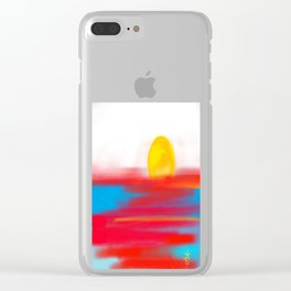 Sketchy Sun and Sea. Sunset and Sunrise Sketch Clear iPhone Case