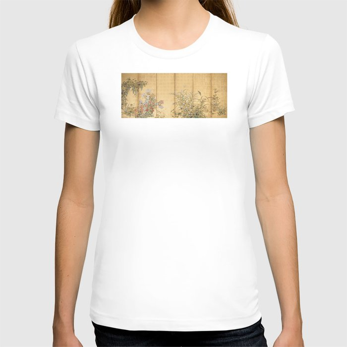 Japanese Edo Period Six-Panel Gold Leaf Screen - Spring and Autumn Flowers T-shirt
