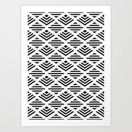 LUNA DIAMOND BLCK AND WHITE Art Print