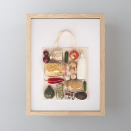 Eco bag with fruits and vegetables, glass jars with beans, lentils, pasta Framed Mini Art Print