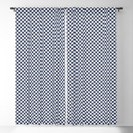 Dark Sargasso Blue and White Mini Check 2018 Color Trends Blackout Curtain