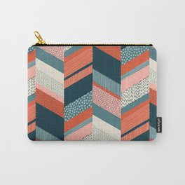 Chevron with Textures / Orange and Persian Green Carry-All Pouch