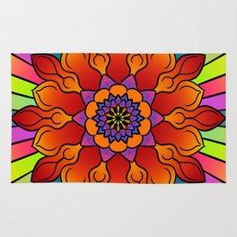 Floral rainbow mandala Rug