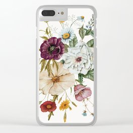 Colorful Wildflower Bouquet on White Clear iPhone Case