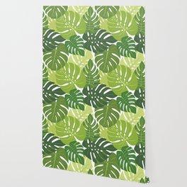 Monstera Leaves Pattern (white background) Wallpaper