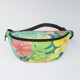 Tropical garden, hibiscus plumeria and palm leaves Fanny Pack