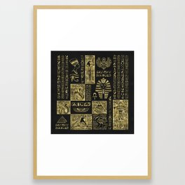 Egyptian  hieroglyphs and symbols gold on black leather Framed Art Print