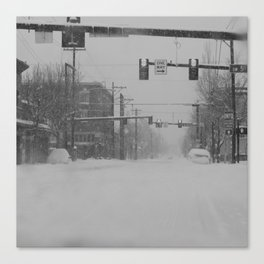 Snow Storm in Downtown - One Way Canvas Print