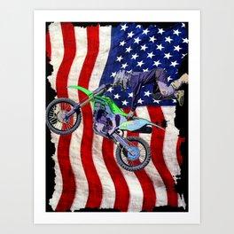 High Flying Freestyle Motocross Rider & US Flag Art Print