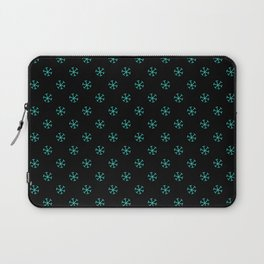 Turquoise on Black Snowflakes Laptop Sleeve