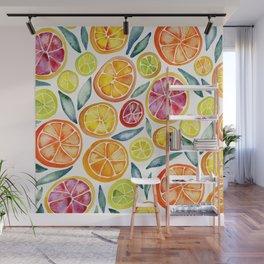 Sliced Citrus Watercolor Wall Mural
