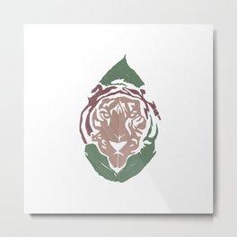 Animal Leaves - Tiger Metal Print