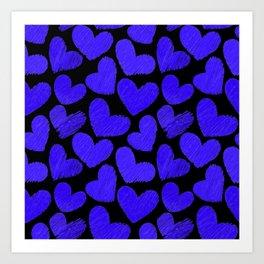 Sketchy hearts in dark blue and black Art Print