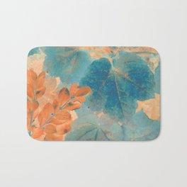 Blue and Orange Autumn Leaves Bath Mat