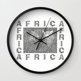Background Leopard and text Africa Wall Clock