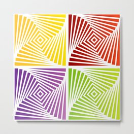 Colorful Squares twirling from the Center. Optical Illusion of PerspectiveColorful Squares twirling Metal Print