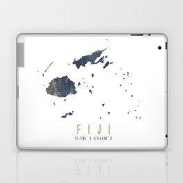 Fiji Map // Blue and Gold Metallic Dots Laptop & iPad Skin