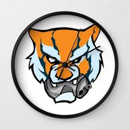 Tiger Head Bitting Beer Can Orange Wall Clock