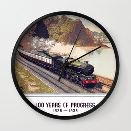 100 Years of Progress, 1835-1935. GWR Vintage Travel Poster Wall Clock