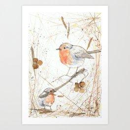 Kleine rote Vögelchen (Little red birdies) Art Print