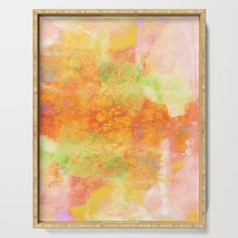 PASTEL IMAGININGS 3 Colorful Pretty Spring Summer Orange Yellow Peach Abstract Watercolor Painting Serving Tray