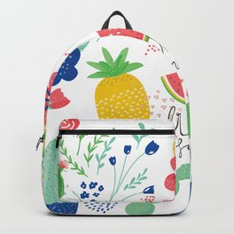 Fresh Summer Fun Desert Bloom & Fruits Pattern Backpack