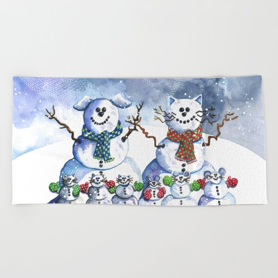 It's Snowing Cats and Dogs (and Mice too) Beach Towel