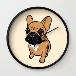 Fawn Frenchie Puppy Wall Clock