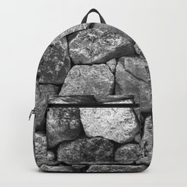 Stone Wall Blocks in Grey and Charcoal Granite Backpack