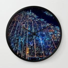 Manhattan Nighttime Skyline Cityscape Landscape Painting by Jeanpaul Ferro Wall Clock