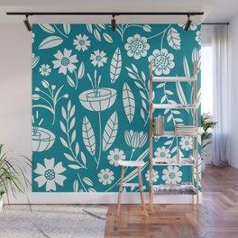 Blooming Field - teal Wall Mural