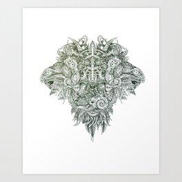 Botanical BioMorph totem Art Print
