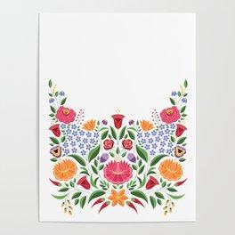 Hungarian folk pattern – Kalocsa embroidery flowers Poster