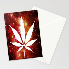 Weed : High Times Orange Red Pink Galaxy Stationery Cards