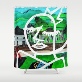 King of Seagulls - Impressionist Abstract painting Shower Curtain