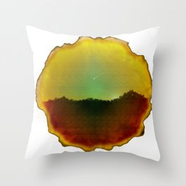 Dusk (with shooting star) on Wood Throw Pillow
