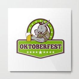 Donkey Beer Drinker Oktoberfest Retro Metal Print