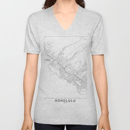Honolulu White Map Unisex V-Neck