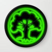 magic the gathering Wall Clocks featuring Magic the Gathering, Neon Green Mana by Thorn Blackstar