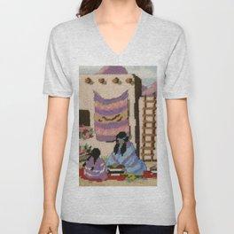 Cross Stitch Southwest Art 1a by Kathy Morton Stanion Unisex V-Neck