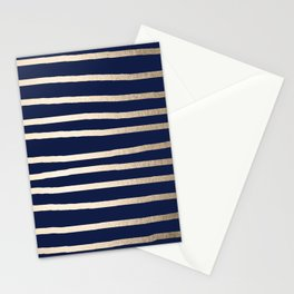 Drawn Stripes White Gold Sands on Nautical Navy Blue Stationery Cards