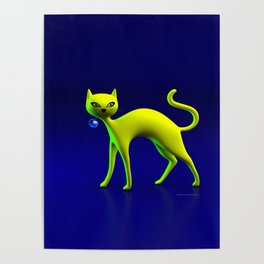 The Yellow Cat And Glass Blue Cherry Poster