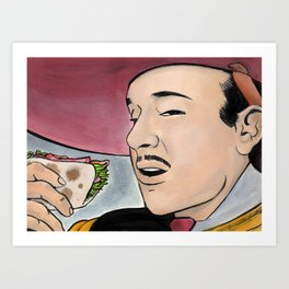 Pedro y Los Tacos de Pescado Art Print