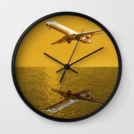 Plane mirrored in the ocean Wall Clock