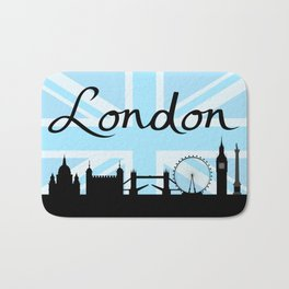 London Script on Union Jack Sky & Sites Bath Mat