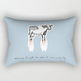 and no-one thought to ask if cows could fly Rectangular Pillow
