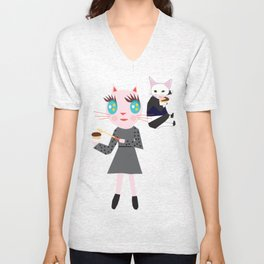FASHIOINISTA CATS CUP CAKE Unisex V-Neck