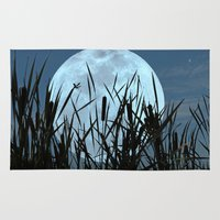 bebop Area & Throw Rugs featuring Between the Moon and Marsh by DebS Digs Photo Art